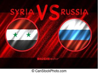 siria, vs, bandiere, russia, rotondo