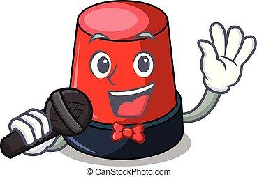 sirine, mascote, cantando, estilo, caricatura