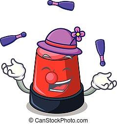 sirine, mascotte, style, dessin animé, jonglerie