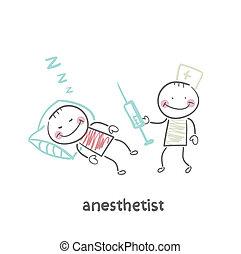 siringa, anestesiologo, paziente, in pausa, prossimo