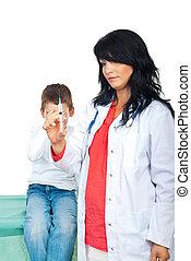 siringa, assustado, criança, doutor