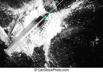 siringa, cozinhado, colher, droga heroína