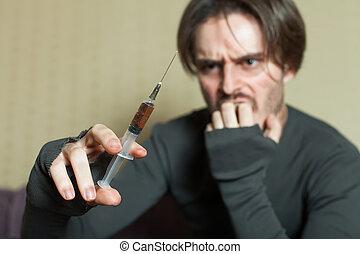 siringa, mão., abuso, viciado, homem