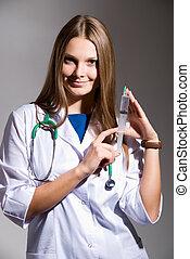 siringa, suo, tenendo mano, dottore