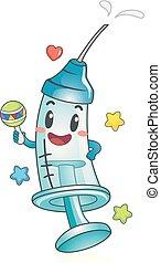 siringa, toddler, vacina, ilustração, mascote