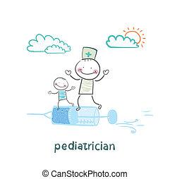 siringa, voando, pediatra, criança doente