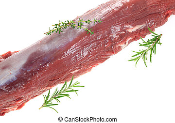 Raw sirloin with herbs on a white background