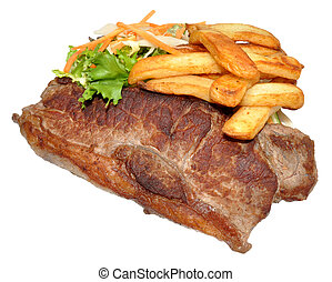 Sirloin Steak And Chips - Sirloin steak and chips with salad...
