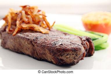 sirloin steak on white background