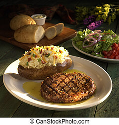 Sirloin with baked potato and salad