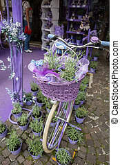 Sirmione, Italy. Show-window the  shop of perfumery and spirits from a lavender. Italy takes the second place in the world on production of oil of a lavender