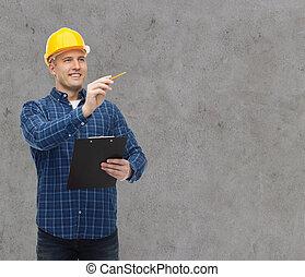 sisak, építő, csipeszes írótábla, hím, mosolygós