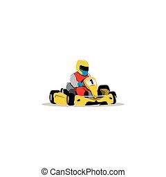 sisak, faj, illustration., kart, wheel., autó, cégtábla., sofőr, fiatal, vektor, versenyzés