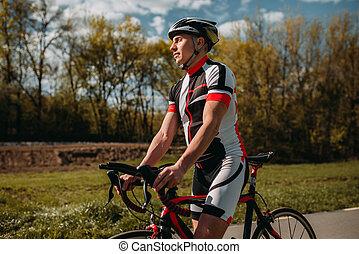 sisak, hím, bicikli, sportruházat, kerékpáros