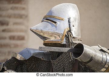 sisak, középkori, lánc, felfegyverez, vas, felad