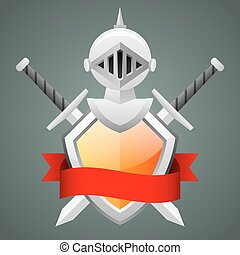 sisak, középkori, lovag, kard, keresztbe tett, pajzs
