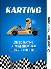 sisak, karikatúra, faj, sofőr, kart, sport, jár, autó, backgorund, karting, poster., háttér