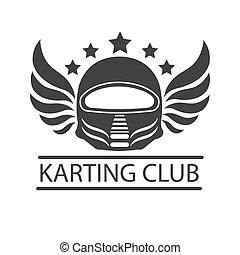 sisak, kart, klub, karting, lóverseny, versenyfutó, vektor, sablon, vagy, ikon