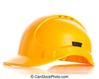 sisak, nehéz, elszigetelt, sárga, háttér., biztonság, white kalap
