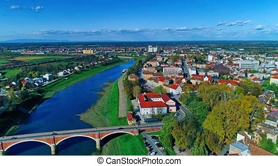 Sisak old bridge - Aerial view of the old bridge on river...