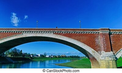 Sisak old bridge - Aerial view of the old bridge on river...