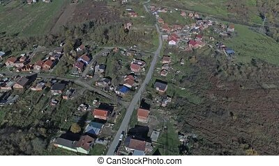 Sisak Romani village aerial - Aerial view of the Romani...