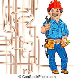sisak, vízvezeték szerelő, lakatos, jókedvű, vektor, piros