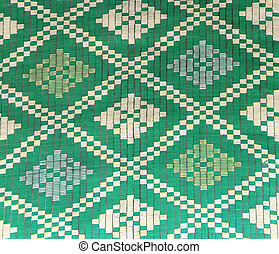 Sisal or jute mat with traditional asian geometric patterns