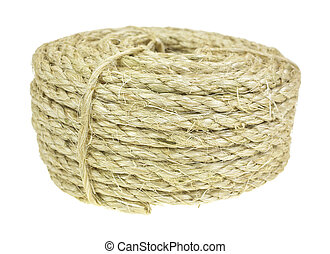 A new coil of wound sisal rope on a white background.