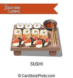 Sishi Japanese food seafood sashimi rolls vector icon -...