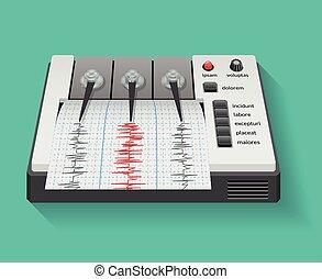sismógrafo, gráfico, máquina, actividad, sísmico, terremoto