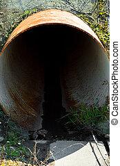 sistema, aguas residuales, drenaje