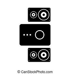 sistema, altoparlante, stereo, icon.