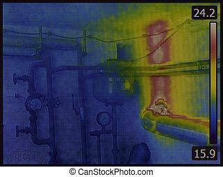 sistema, calefacción central, infrarrojo