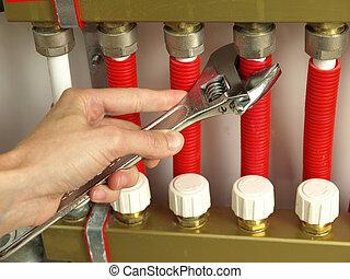 sistema, calefacción, válvulas