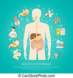 sistema digestivo, ilustração, doenças