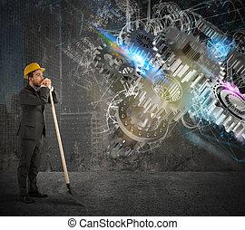 sistema, engranaje, construya