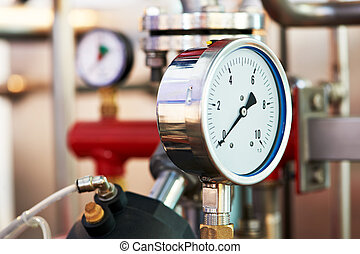 sistema, equipments, calefacción, sala de calderas