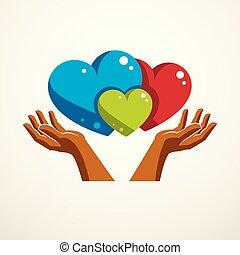 sistema, familia , uno, relations., oferta, logotipo,...