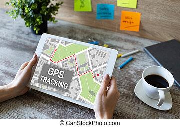 sistema, gps, global, dispositivo, posicionar, screen., mapa, rastrear