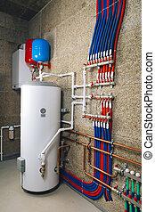 sistema, habitación, caldera, calefacción, moderno, independiente