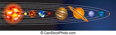 sistema, ilustración, solar