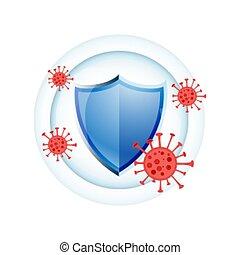sistema, immune, scudo, disegno, medico, protezione, concetto