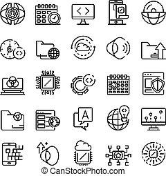 sistema, jogo, operando, ícones, esboço, estilo