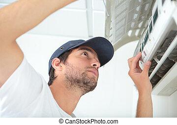 sistema, jovem, ar condicionado, homem, limpeza