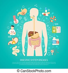 sistema, malattie, illustrazione, digestivo