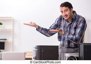 sistema, musicale, riparare, hi-fi, giovane, ingegnere