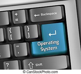 sistema operacional, ilustração, teclado