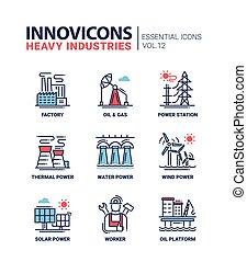 sistema pesado, iconos, industria, diseño, línea