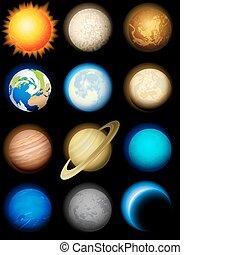 sistema, solar, ícones